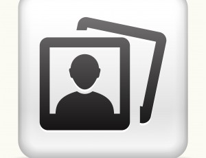 White Square Button with Headshot Pictures